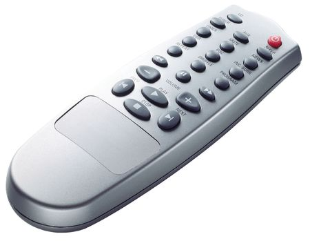 changing channel: TV Remote control on white background