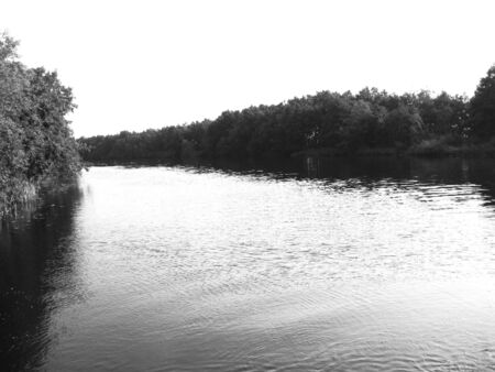 River in Lithuania, B&W image photo
