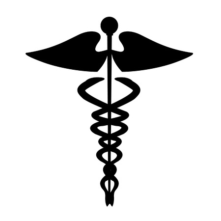 caduceo: Medical caduceus signo silueta  Vectores