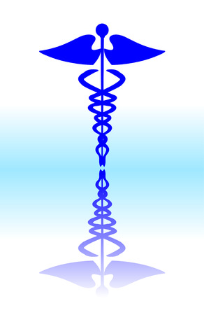 scepter: Medical caduceus sign, blue vector illustration