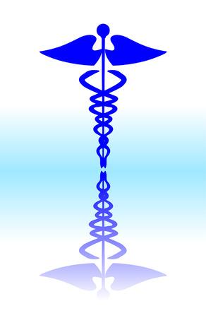 cetro: Medical caduceus signo, azul ilustraci�n vectorial  Vectores