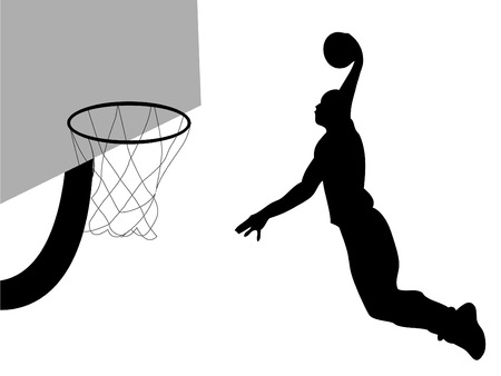 Basketball player dunking ball Illustration