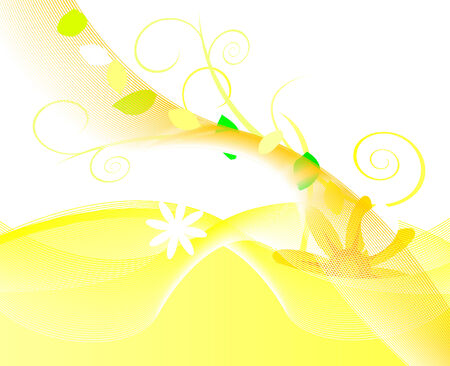 Yellow background made of floral elements Vector