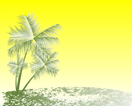 Tropical landscape with palms Vector