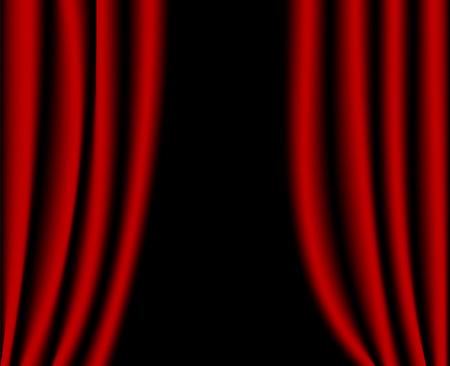cortinas rojas: Abra las cortinas Roja  Vectores
