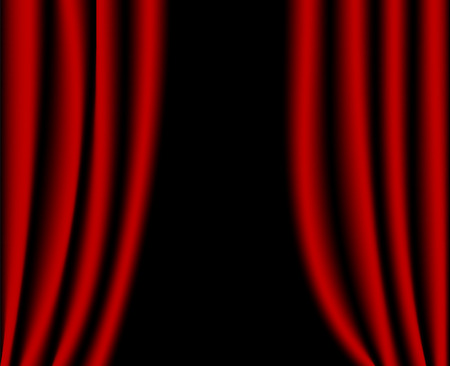 theater auditorium: Open red curtains