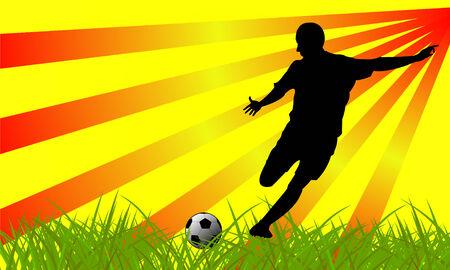 Soccer player on grass Vector
