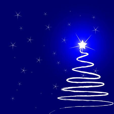Christmas tree at night Vector