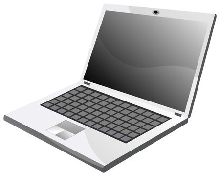 Laptop on white background, vector illustration