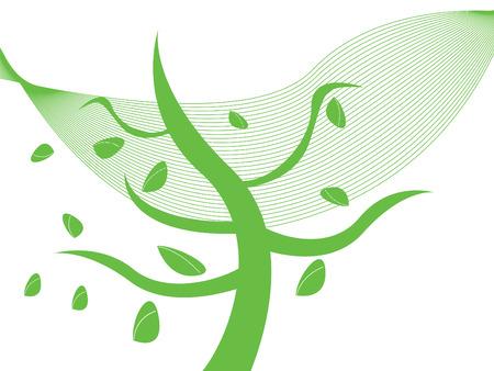Autumn tree in wind Stock Vector - 3614919