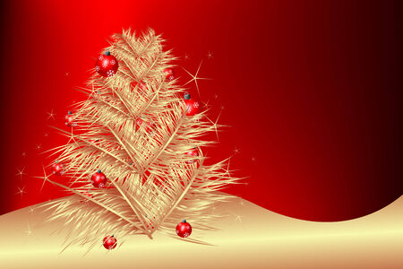 Christmas tree with balls Vector