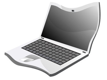 Distorted laptop on white , vector illustration Stock Vector - 3619434