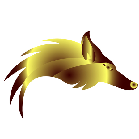 Abstract logo with golden fox