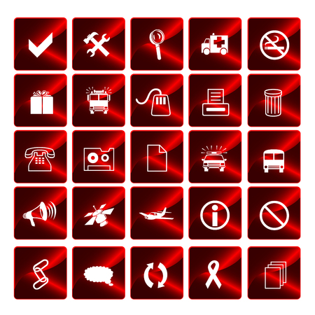 Glossy red vector icons Vector