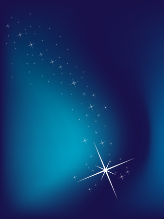 and shining: Blue background with stars, vector illustration