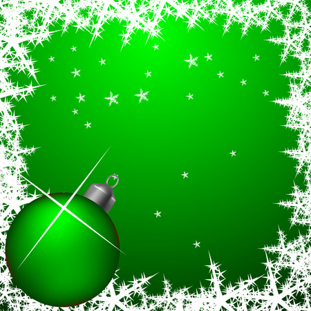 Green abstract frame with s and christmas ball Stock Vector - 3675598