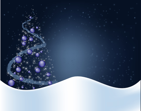 Blue christmas background with decorations Illustration