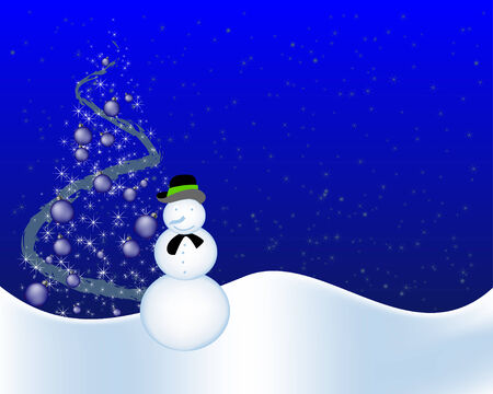 Blue christmas background with snowman Vector