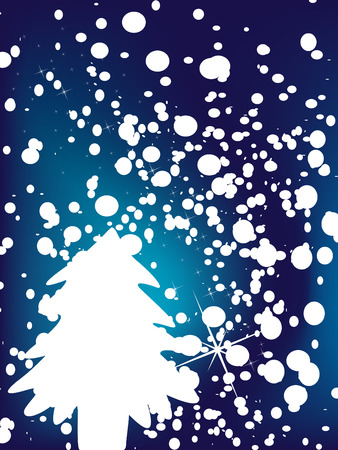 Christmas background with snowflakes and tree Stock Vector - 3736050