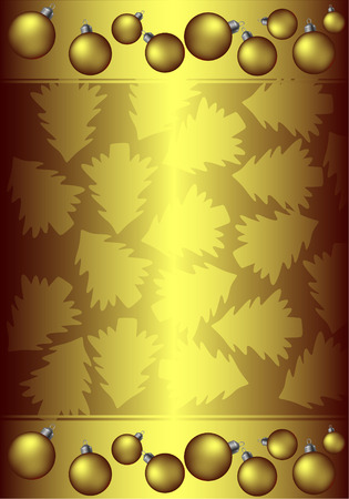 stylization: Golden background with christmas balls and trees
