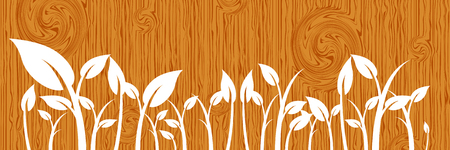 Leaves on wood Vector