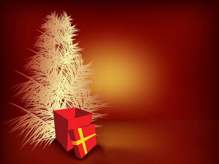 Christmas tree and gift box Vector