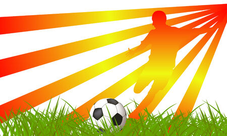 Soccer player on grass Vector