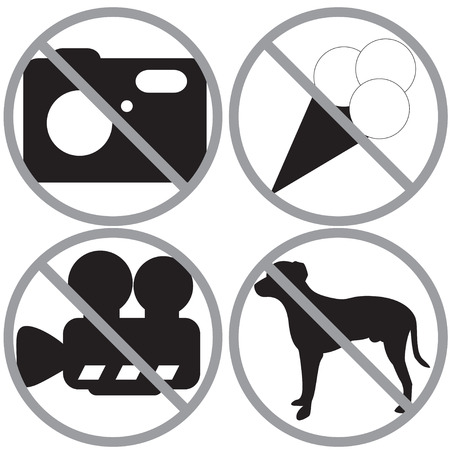 dog allowed: Set of forbidden signs
