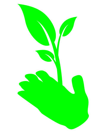 Hand holding plant Vector