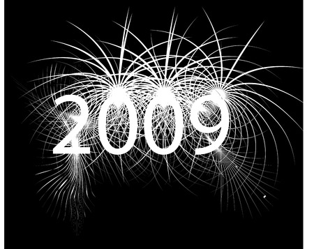 New year digits and fireworks Vector