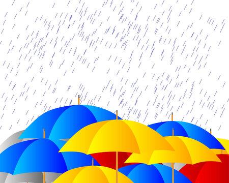 rainstorm: Umbrellas in the storm