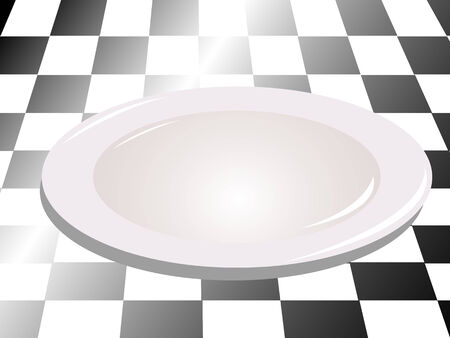 formal place setting: White plate 3d
