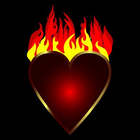 burning heart: Red burning heart Illustration