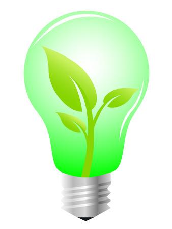 Lightbulb with plant inside, vector illustration Vector