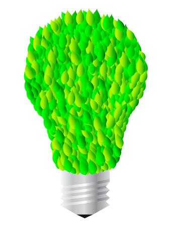 Lightbulb with leaves, vector illustration Vector