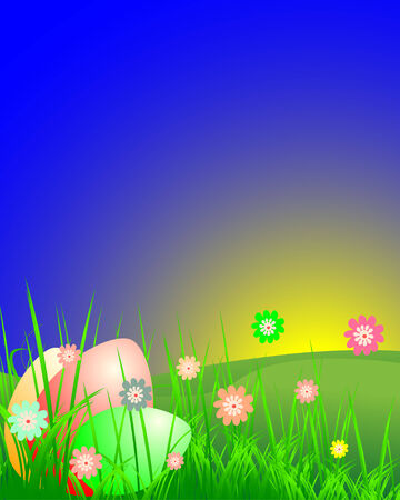 Easter landscape with flowers and eggs Vector