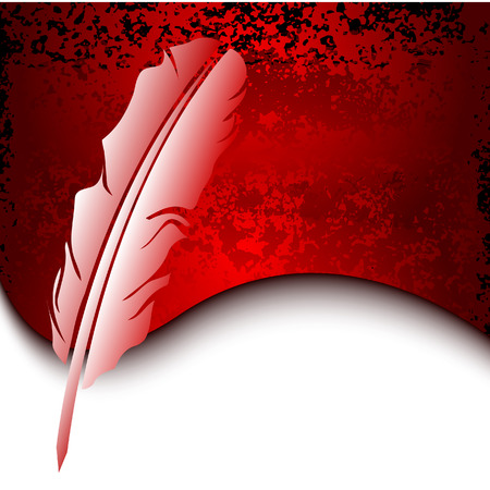 poet: Feather on red grunge background