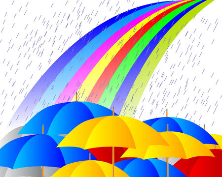 Raining on umbrellas Vector