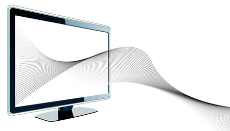 Futuristic design with tv and wavy lines