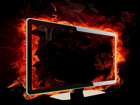 Burning lcd tv photo