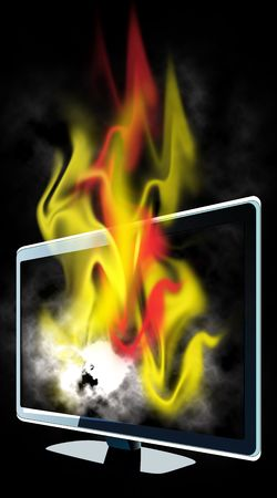 Burning lcd tv Stock Photo - 4954961