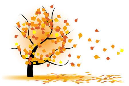 Autumn tree in wind  Vector