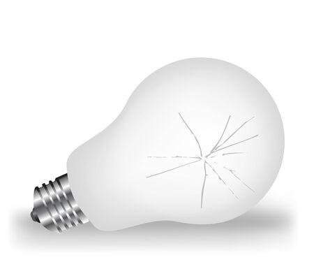 Broken white light bulb Vector