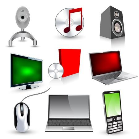 speaker box: Conjunto de industrial  iconos de tecnolog�a