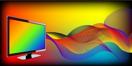 TV with waves Stock Vector - 7233171