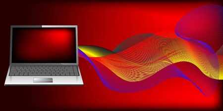 Laptop with waves Stock Vector - 7233172