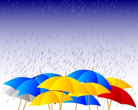 Umbrellas in the rain Vector