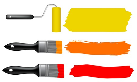 bristle: Paint brush and paint roller  Illustration