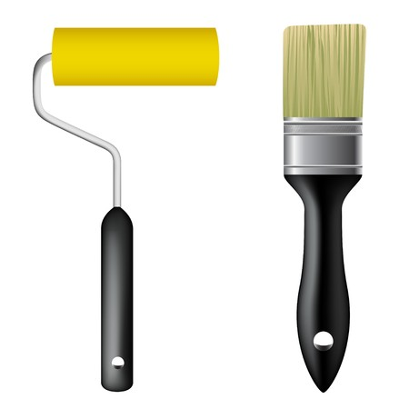 Paint brush and paint roller Stock Vector - 7386465