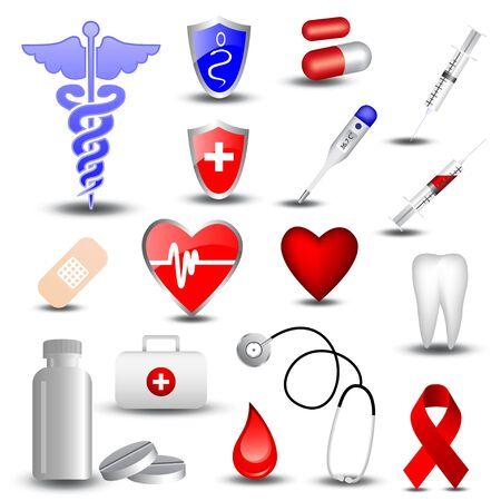 iconos medicos: Colecci�n de iconos de m�dicos  Vectores
